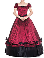 cheap -Ball Gown Elegant Vintage Halloween Quinceanera Dress Square Neck Short Sleeve Floor Length Satin with Sash / Ribbon Bow(s) Pattern / Print 2021