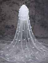 cheap -Three-tier Classic Style / Flower Style Wedding Veil Chapel Veils with Faux Pearl / Petal / Appliques 110.24 in (280cm) Tulle
