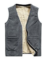 cheap -Men's Vest Beach Fall Winter Regular Coat Peaked Lapel Regular Fit Warm Casual Jacket Sleeveless Plain Full Zip Gray Black