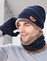 cheap -Men's Beanie Hat  Scarf Set Thermal Warm Windproof Breathable Hat Gloves Winter Snowboard for Skiing Camping / Hiking