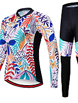 cheap -21Grams Women's Long Sleeve Cycling Jersey with Tights Spandex Polyester Blue Floral Botanical Funny Bike Clothing Suit 3D Pad Quick Dry Moisture Wicking Breathable Back Pocket Sports Floral Botanical