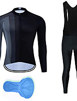 cheap -21Grams Men's Long Sleeve Cycling Jersey with Bib Tights Summer Spandex Black Bike Quick Dry Moisture Wicking Sports Vertical Stripes Mountain Bike MTB Road Bike Cycling Clothing Apparel / Stretchy