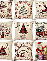 cheap -Christmas Santa Claus Double Side Cushion Cover 9PC Soft Decorative Square Throw Pillow Cover Cushion Case Pillowcase for Bedroom Livingroom Superior Quality Machine Washable Indoor Cushion for Sofa Couch Bed Chair