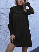 cheap -Women's Shift Dress Short Mini Dress Rusty brown Black Long Sleeve Solid Color Ruffle Fall Winter Stand Collar Casual Regular Fit 2021 S M L XL