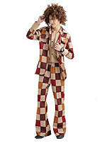 cheap -Hippie Cosplay Costume Adults' Men's Halloween Festival Halloween Festival / Holiday Terylene Brown Men's Easy Carnival Costumes Plaid / Check / Coat / Blouse / Pants