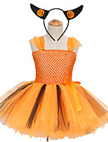 cheap -Kids Little Girls' Dress Solid Colored Tulle Dress Party Birthday Yellow Above Knee Sleeveless Princess Sweet Dresses Halloween Slim 3-12 Years