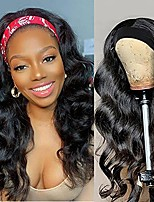 cheap -Headband Wig Synthetic Long Wavy Black Headband Wigs for Black Women Natural Looking High Density Glueless Synthetic Wig Heat Resistant (Black Wig)