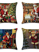 cheap -Christmas Double Side Cushion Cover 4PC Soft Decorative Square Throw Pillow Cover Cushion Case Pillowcase for Bedroom Livingroom Superior Quality Machine Washable Indoor Cushion for Sofa Couch Bed Chair