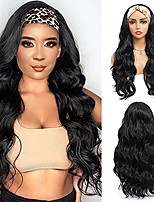 cheap -Headband Wig Synthetic Body Wave Headband Wigs for Black Women Long Wavy 180% Density Wigs,Natural Color (24 Inch)