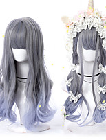 cheap -halloweencostumes Synthetic Wig Body Wave Wavy Neat Bang Wig Long A1 A2 A3 A4 A5 Synthetic Hair Women's Soft Party Fashion Gray Light Brown Rose Pink