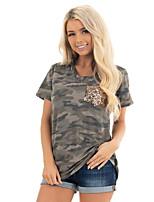 cheap -Women's T shirt Camo Leopard Pocket Print V Neck Basic Hawaiian Beach Tops Regular Fit Blushing Pink Green Brown / 3D Print