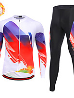 cheap -21Grams Men's Long Sleeve Cycling Jersey with Tights Winter Fleece Spandex White Black Bike Quick Dry Moisture Wicking Sports Geometric Mountain Bike MTB Road Bike Cycling Clothing Apparel / Stretchy