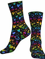 cheap -Socks Cycling Socks Men's Women's Bike / Cycling Breathable Soft Comfortable 1 Pair Heart Cotton Black S M L / Stretchy