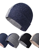 cheap -Men's Protective Hat Street Dailywear Knitted Color Block Black Hat