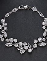 cheap -Women's Cubic Zirconia Tennis Bracelet Bracelet Tennis Chain Flower Simple Elegant Fashion European Copper Bracelet Jewelry Silver For Party Wedding Gift Engagement