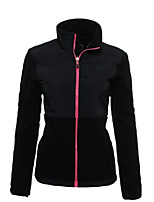 cheap -Women's Jacket Street Daily Fall Winter Regular Coat Zipper Stand Collar Regular Fit Warm Casual Jacket Long Sleeve Color Block Full Zip Pocket Blushing Pink Black Red