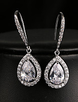 cheap -Women's Cubic Zirconia Drop Earrings Earrings Pear Cut Drop Simple Luxury Elegant Fashion Earrings Jewelry Silver For Party Wedding Anniversary Gift Engagement 1 Pair