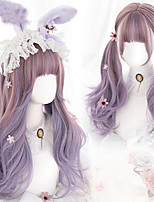 cheap -Long wave curls with bangs women Gradient Purple heat resistant synthetic hair Christmas Cosplay wig Lolita wig