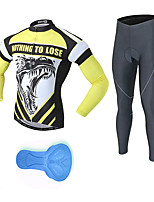 cheap -21Grams Men's Long Sleeve Cycling Jersey with Tights Spandex Polyester Black / Yellow Dragon Funny Bike Clothing Suit 3D Pad Quick Dry Moisture Wicking Breathable Back Pocket Sports Dragon Mountain