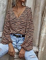 cheap -Women's Painting T shirt Zebra Long Sleeve Print V Neck Basic Tops Khaki