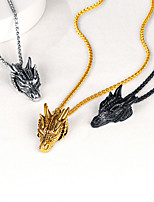 cheap -Pendant Necklace Necklace Men's Women's Classic Stainless Steel Dragon Ethnic Classic Silver Gold Black 55+5 cm Necklace Jewelry 1pc for Street Gift Daily Festival