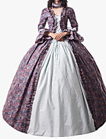 cheap -Ball Gown Elegant Vintage Halloween Quinceanera Dress Square Neck Long Sleeve Floor Length Cotton Blend with Bow(s) Ruffles Pattern / Print 2021