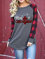 cheap -Women's Christmas Painting T shirt Plaid Text Long Sleeve Print Round Neck Basic Christmas Tops Regular Fit Red / 3D Print