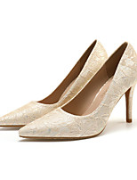 cheap -Women's Wedding Shoes Stiletto Heel Pointed Toe Wedding Daily Lace Solid Colored Almond Pink White