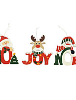 cheap -2pcs Christmas Decorations Wooden Printing Santa Claus Snowman Elk Pendant Scene Decoration