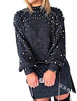 cheap -Women's A Line Dress Short Mini Dress Gray Khaki Green Dark Gray Long Sleeve Solid Color Jacquard Fall Winter Round Neck Casual 2021 S M L XL XXL