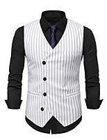 cheap -Men's Vest Gilet Business Work Fall Winter Regular Coat Regular Fit Thermal Warm Business Casual Jacket Sleeveless Striped Pocket Gray White Black