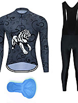 cheap -21Grams Men's Long Sleeve Cycling Jersey with Bib Tights Summer Spandex Polyester Grey Tiger Funny Bike Clothing Suit 3D Pad Quick Dry Moisture Wicking Breathable Back Pocket Sports Patterned