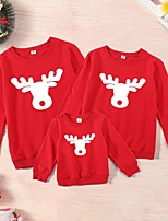 cheap -Christmas Tops Family Look Cotton Deer Athleisure Print Black Red Long Sleeve Basic Matching Outfits / Fall / Spring / Cute