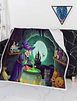 cheap -Cotton Polyester Blend Halloween Printing Throw Blanket All Season For Couch Chair Sofa Bed PicnicSoft Fluffy Warm Cozy Plush Autumn Winter