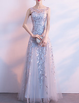 cheap -A-Line Elegant Floral Prom Formal Evening Dress Jewel Neck Sleeveless Floor Length Tulle with Embroidery Pattern / Print 2021