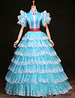 cheap -Ball Gown Elegant Vintage Halloween Quinceanera Dress High Neck Short Sleeve Floor Length Satin with Sash / Ribbon Ruffles Lace Insert 2021
