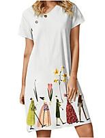 cheap -Women's A Line Dress Knee Length Dress Yellow White Light Green Short Sleeve Floral Print Button Print Summer V Neck Casual 2021 S M L XL XXL 3XL 4XL