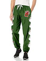 cheap -Men's Casual Fashion Breathable Sports Pants Sweatpants Casual Daily Pants Christmas Full Length Elastic Drawstring Design Print Green
