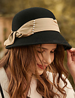 cheap -Elegant Retro Wool / Pearl / Silk Hats with Bowknot / Pearls / Solid 1pc Wedding / Tea Party Headpiece