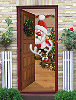 cheap -2pcs Cute Santa Claus And Reindeer Self-adhesive Door Stickers For Living Room Diy Decoration Home Waterproof Wall Stickers 77x200cm