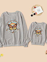 cheap -Tops Mommy and Me Rainbow Butterfly Letter Daily Print Gray White Black Long Sleeve Daily Matching Outfits / Fall / Winter / Cute
