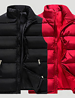 cheap -Men's Hiking Vest Quilted Puffer Vest Down Vest Down Winter Outdoor Thermal Warm Windproof Lightweight Breathable Outerwear Winter Jacket Trench Coat Skiing Fishing Climbing Black Dark Gray Red
