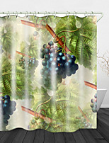 cheap -Beautiful Grapes Printed Waterproof Fabric Shower Curtain Bathroom Home Decoration Covered Bathtub Curtain Lining Including hooks.