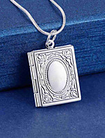 cheap -Pendant Necklace Lockets Necklace Charm Necklace Men's Women's Geometrical Silver Plated Precious Fashion Lovely Wedding Silver 45 cm Necklace Jewelry 1pc for Christmas Wedding Gift Daily Work Square