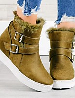 cheap -Women's Boots Hidden Heel Round Toe Over The Knee Boots Daily Suede Buckle Solid Colored Army Green Khaki Black