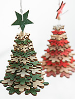 cheap -Nordic Wooden Christmas Tree Pendant Room Living Room Christmas Decorations