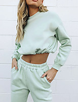 cheap -Women's 2 Piece Pocket Crop Top Crew Neck Spandex Solid Color Sport Athleisure Clothing Suit Long Sleeve Breathable Soft Comfortable Everyday Use Street Casual Daily Outdoor / Winter
