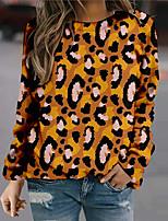 cheap -Women's Sweatshirt Pullover Leopard Print Daily Sports 3D Print Active Streetwear Hoodies Sweatshirts  Coffee