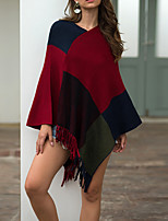 cheap -Women's Cloak / Capes Sweater Tassel Color Block Stylish Vintage Style Long Sleeve Batwing Sleeve Sweater Cardigans V Neck Fall Winter Red