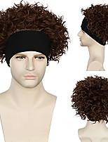 cheap -curly headband wig brown curly wig with black headband creations headband football wig short curly wig forfans wig halloween cosplay